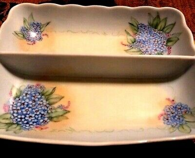 ANTUQUE Hand Painted Signed Plate  With Gold Handles Blue Flowers