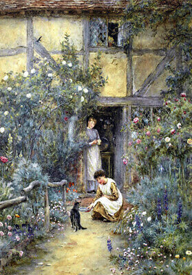A SAUCER OF MILK FOR CAT * Helen Allingham LARGE A3 SIZE QUALITY CANVAS  PRINT