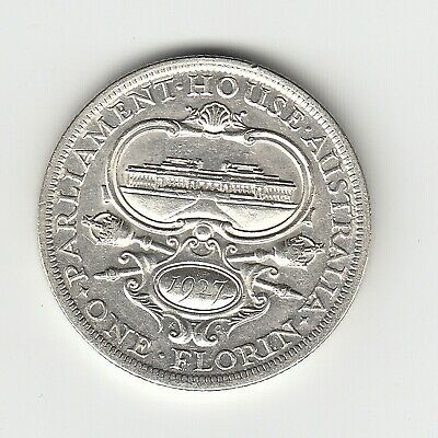1927 Australia Commemorative Florin (92.5% Silver) - 8 Soft Pearls - Great Coin