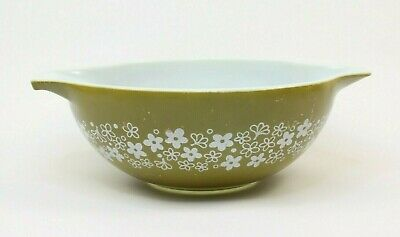 Vintage Pyrex 444 4 QT. Mixing Bowl Spring Blossom Green Flowers 60s 70s Kitchen