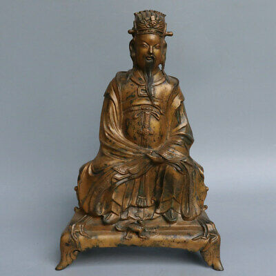Chinese Exquisite Handmade the ancients copper Gilt statue
