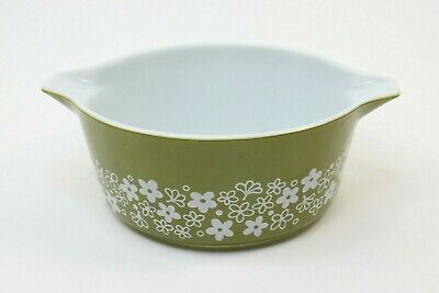 Vintage Pyrex 475 B 2.5 QT. Mixing Bowl Spring Blossom Green Flowers 60s Kitchen