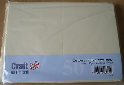 Crafts UK 50/ Deckle Edge Cards White C6