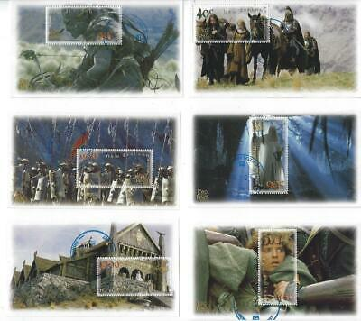 NZ 2002 Lord of the Rings - Two Towers -  Full Set of 6 Miniature sheets CTO