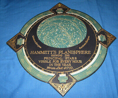 Antique Vintage Hammett's Planisphere Showing The Principle Stars Early 1900s