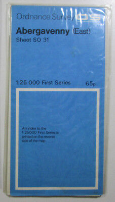 1975 old vintage OS Ordnance Survey 1:25000 First Series map SO 31 Abergavenny E