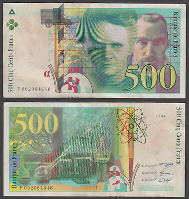 France 500 Francs 1994 (F-VF) Condition Banknote KM #160