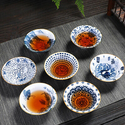 Chinese tea cup Jingdezhen craft blue-and-white porcelain tea cups for Pu'er tea