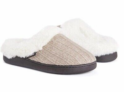 Women Muk Luks Knit Clog Slippers - Medium 7-8 Taupe Faux Fur Lined New
