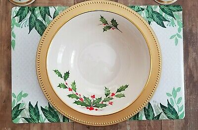 Vintage Lenox Holiday Holly Berry Large Serving Bowl 24k Gold Rimmed
