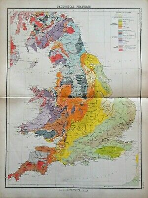 Victorian Colour Map - Geological Features (c1896) Ordnance Survey ENGLAND WALES