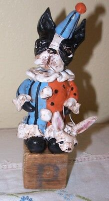 New Folk Art Boston Terrier Dog  Party Dog Bunny Jol Vintage Nostalgic