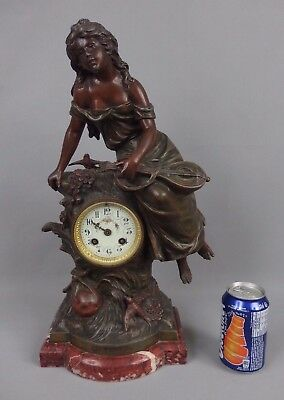 Antique french spelter figural mantle clock by Louis & François Moreau 19th C.