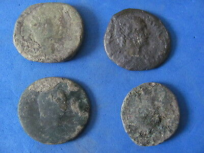 RARE Lot (4) Large size Roman Bronze coins 1st to 3rd cent. A.D.