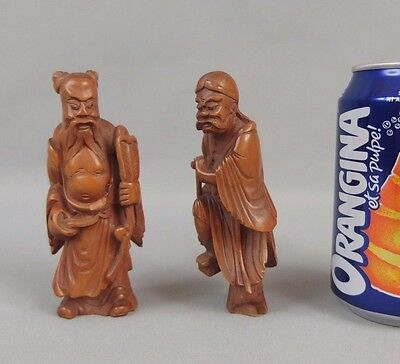 2 small antique chinese or japanese carved wood figures figurines statues 1900's