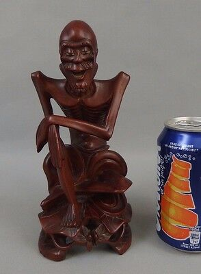 Antique chinese or japanese carved wood hardwood statue figure immortal n2