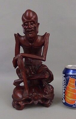 Antique chinese or japanese carved wood hardwood statue figure immortal