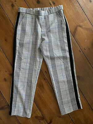 Girls Zara Age 8 Years Trousers Grey Check with Side Tape Elasticated Waist