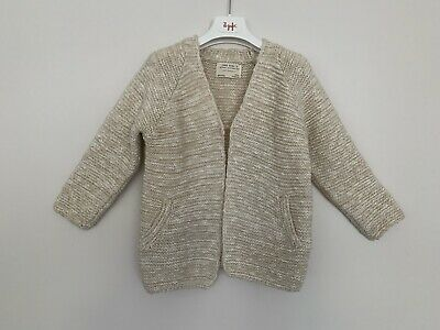 Girls Zara Age 4 - 5 Years Cardigan Ivory Knitted Single Button Long Sleeve