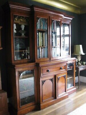 Magnificent Victorian Breakfront Bookcase Secretaire  - Superb Condition