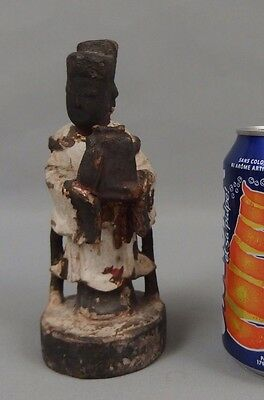 Antique small chinese carved wood statue figure 19th C. / guanyin buddha temple