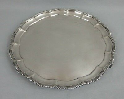 Antique Egyptian Solid Silver Footed Tray Plate Dish 1410 Grams