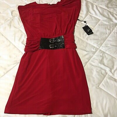 Adrianna Papell Womens Dress Red Size 4 Sheath Ruched Belted Solid Zipper NWT