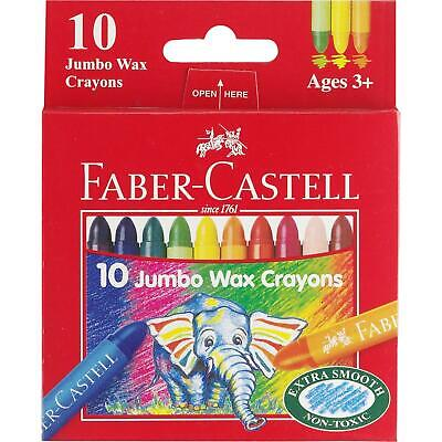Genuine Faber-Castell Jumbo Thick Wax Crayons Pack of 10 Kids
