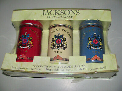 Collectable Jackson's Of Piccadilly Collection Of 3 x 50 gram Tea Tins Unused