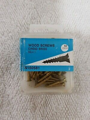 """SALE 50x 1"""" 6g, slot head Solid Brass Wood Screws, C/S, NOS slotted"""