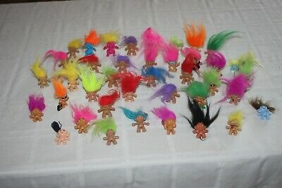 Vintage Troll Lot of  38 Trolls Russ Dam Treasure Pencil Topper Troll Dolls Hair