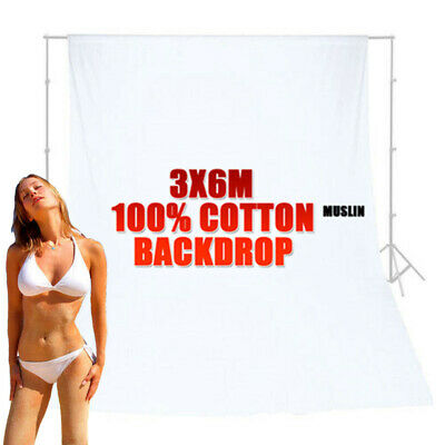 Large 6M Photography Studio Muslin Backdrop White 100% Cotton Screen Background