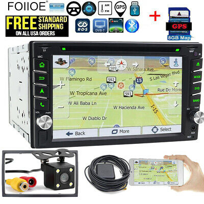 Sony Lens GPS Double Din Car Stereo Radio DVD CD Mp3 Player Bluetooth +Map & CCD