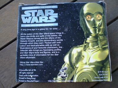 Vintage collectable Star Wars1999 day to day calander great movie photo scenes