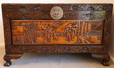 Large Camphorwood Chest with carved Chinese panels