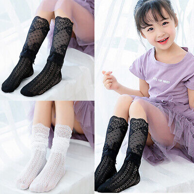 Kids Girls Cute Lace Hollow Socks Casual Stylish Mesh Breathable Socks 3 Color