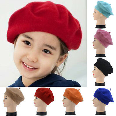French Style Vintage Baby Kid Girls Wool Soft Winter Warm Plain Beret Beanie Hat