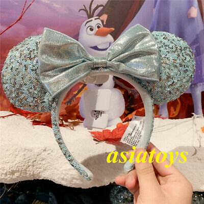 Authentic Disney park Minnie Mouse Sequined Ear Headband Arendelle Aqua frozen