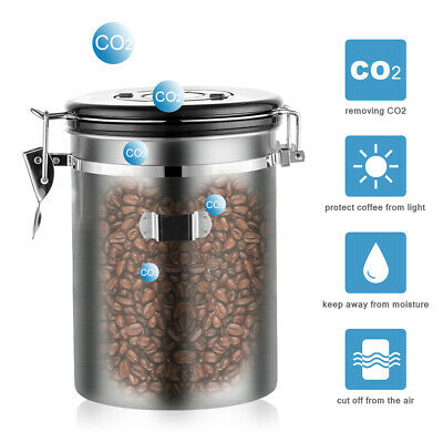 1800ML Stainless Steel Coffee Canister Food Storage Container for Beans Sugar