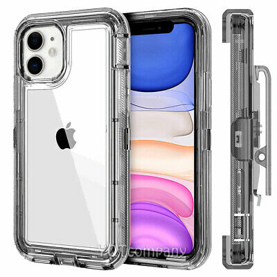 Clear Crystal Case for iPhone 11 Pro XS MAX X XR 6 7 8 Plus W/ Clip Belt Stand