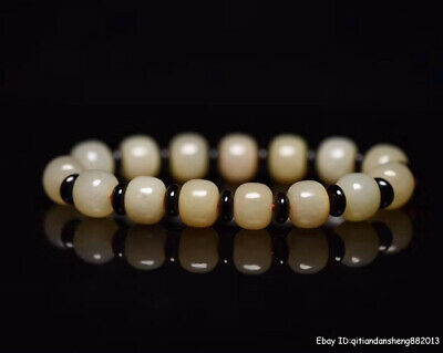 1.2cm China natural Old HeTian Jade Hand-carved Bead Bracelet jewelry QWSB