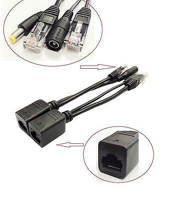 Black Power over Ethernet Passive PoE Injector + Splitter Adapter Cable Kit AU
