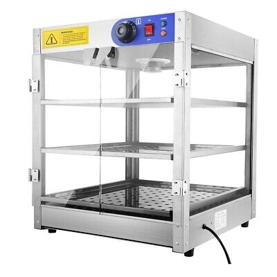3 Tier Commercial Food Warmer Display Showcase Hot Pizza Pie Pastry Countertop