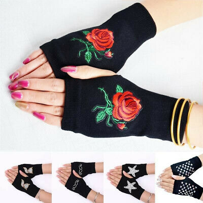 Women's Fingerless Mittens Knitted Gloves Black Casual Combed Cotton Winter Fall