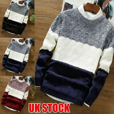 Mens Crew Neck Long Sleeve Chunky Knit Jumper Pullover Winter Warm Sweater Tops
