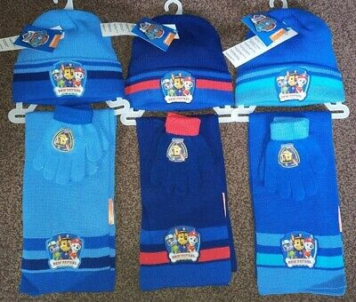 Boys Girls Paw Patrol Fleece Winter Hat Scarf Gloves Set Kids Beanie Hat Gift