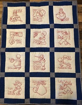 Baby Quilt Redwork Hand Embroidered Nursey Rhymes Machine Quilted New Lap Crib