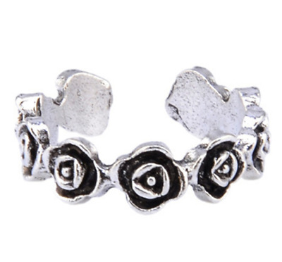 Womens Toe Rings Small Finger Ring Band Silver Plated Adjustable Jewellery 4#