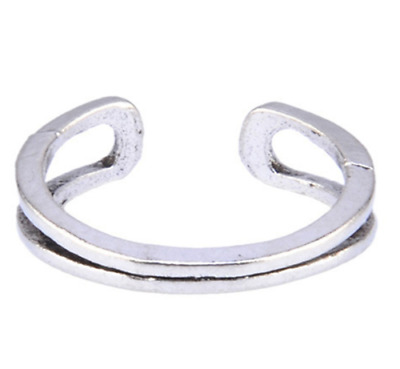 Womens Toe Rings Small Finger Ring Band Silver Plated Adjustable Jewellery 5#