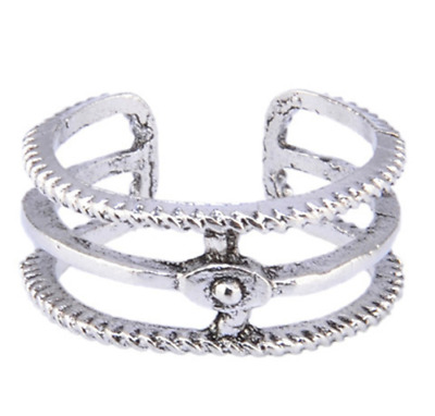 Womens Toe Rings Small Finger Ring Band Silver Plated Adjustable Jewellery 8#